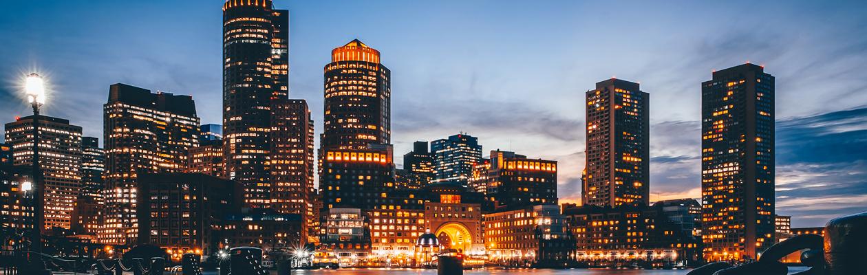 Boston, MA at twilight